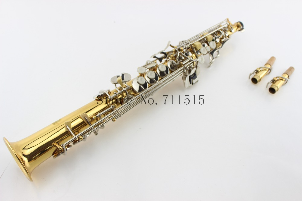 Professional Customized Straight Saxophone Bb Soprano Gold Plated Silver Key Saxophone Soprano Mouthpiece Music Instrument suzuki s 32c soprano melodion with case and mouthpiece 32 key melodica professional performance