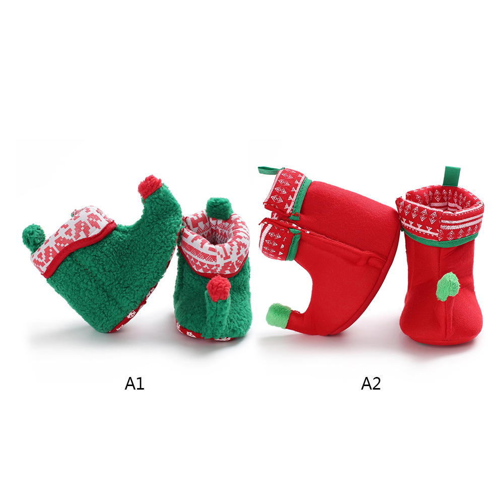 2799f6298e03d New Year Christmas Baby Shoes Baby Boy Girl Toddler Warm Shoes First  Walkers Baby Booties Green and Red Boots