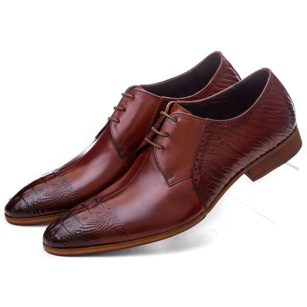 Mode marron Tan/noir hommes chaussures habillées en cuir véritable Oxford chaussures d'affaires hommes chaussures de mariage