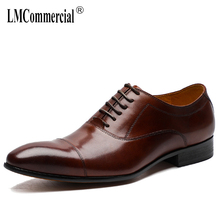 Spring mens shoes High Quality Genuine Leather Shoes Men Lace-Up business dress casual shoes British oxford shoes for men цена 2017