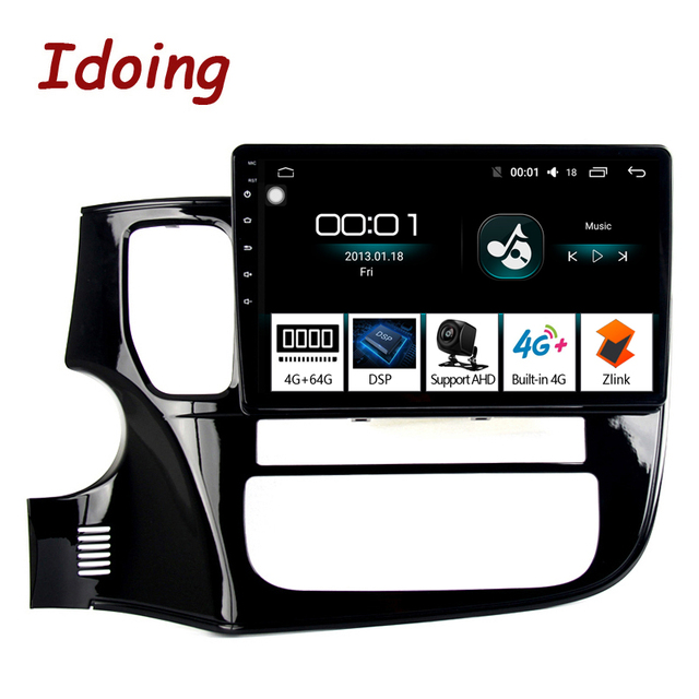 """Idoing 10.2 """"4 グラム + 64 グラム 8 コア車のアンドロイド 8.1 の無線マルチメディアプレーヤーフィット三菱アウトランダー 2014 -2017 2.5D IPS GPS ナビゲーション"""