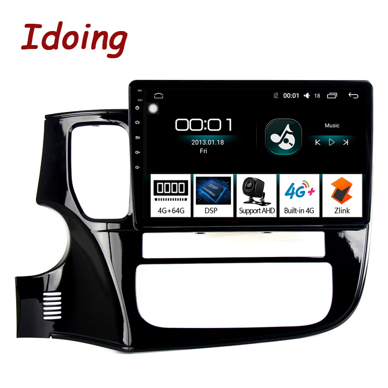 Idoing 10.24G+64G 8 Core Car Android 8.1 Radio Multimedia Player Fit Mitsubishi Outlander 2014-2017 2.5D IPS GPS Navigation
