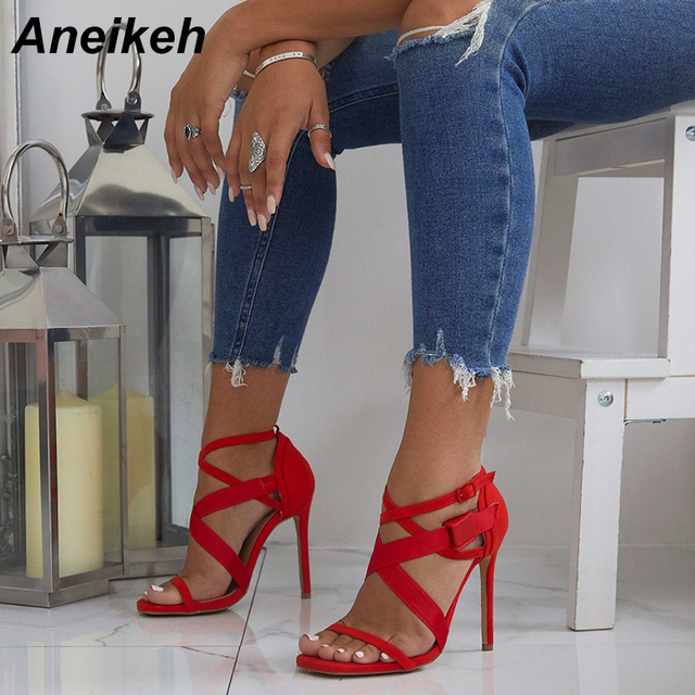 Aneikeh 2018 New Gladiator Sandals Women High Heels Sandals Thin Heels Ladies Sexy Party Flock Cross-tied Open Toe Shoes red