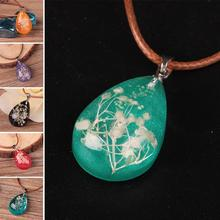 Hot sale Jewelry Crystal Glass Real Dried Flower Heart Necklace Pendant Necklaces For Women