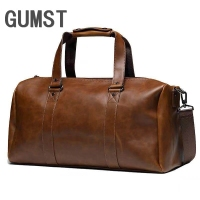 GUMST New Vintage Crazy Horse Pu Leather Men Travel Bags Luggage Travel Bag Leather Men's Duffle Bags Large Men Weekend Bag