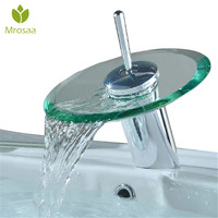 Bathroom Copper Round Glass Waterfall Basin Faucet Single Lever Mixer Sink Tap Cylindrical Chrome Kitchen Sink