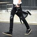 2016 Coreano Legal Skinny jeans calças dos homens de couro com zíper Fino 28 29 30 31 32 calças Do Punk rock