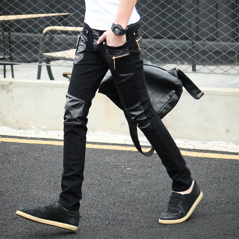 2016 Korean Cool Skinny leather jeans pants men with zipper Slim 28 29 30 31 32 Punk rock trousers