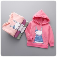 New Arrival Children Cartoon Rabbit Printed T Shirt Sweaters Kids Hooded Velvet Thicker Warm Tops Baby Girls Pullover Sweaters