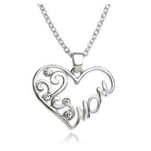 "2018 Fashion ""Mom and Daughter Love"" Piercing Heart Pendant Necklace Mother's Day Gifts Alloy Sweater Chain Necklaces wholesale(China)"