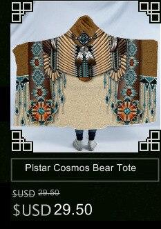 Plstar Cosmos Bear Totem/Native Indian Hooded Blanket 3D full print Wearable Blanket Adults men women style-9