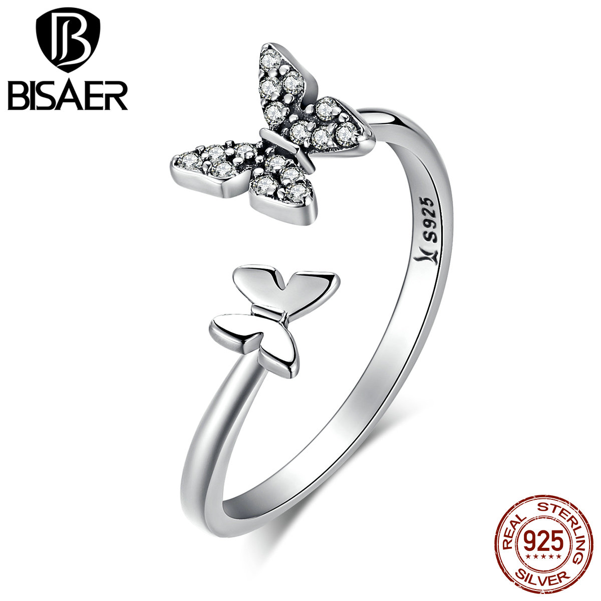 BISAER Hot Sale 925 Sterling Silver Clear CZ Dancing Butterfly Open Finger Rings for Women Fashion Sterling Silver Jewelry Gift