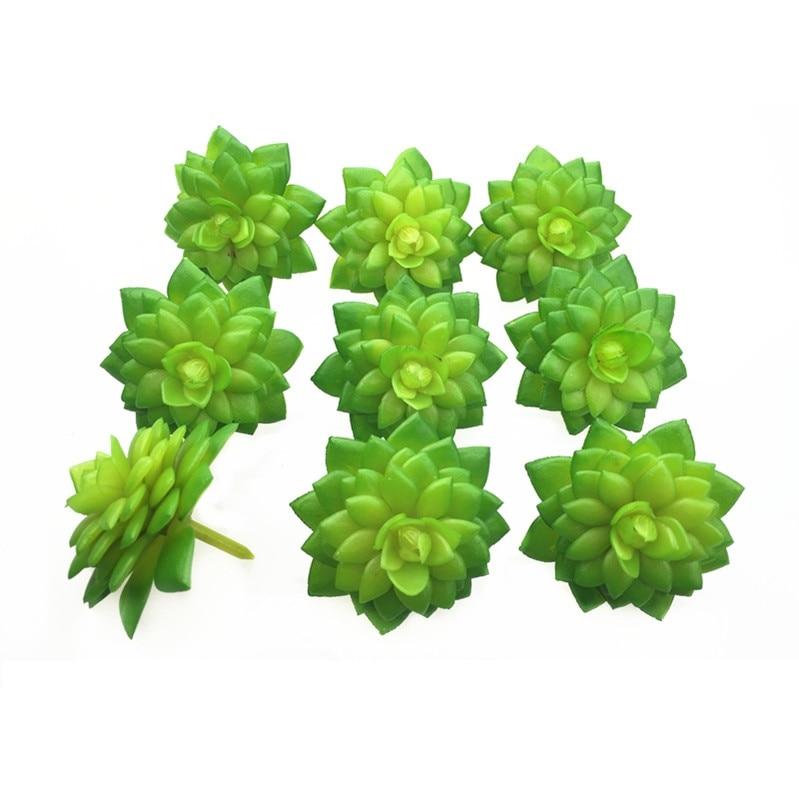 INDIGO- 10pcs Mini Green Artificial Succulent Plant Desert Rose Plastic Flower Tectorum Galahad Table Decoration Free Shipping