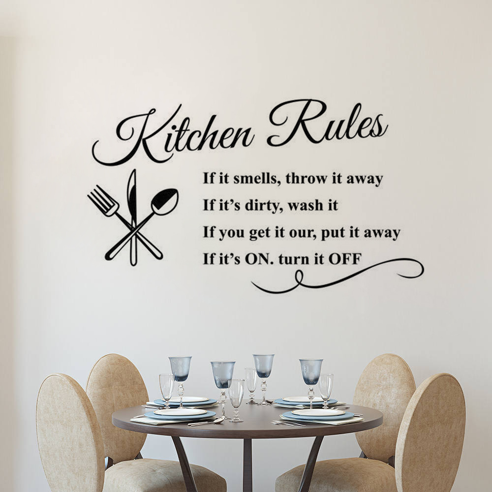 House Rules Decorative Wall Art Sticker Text 3 Sizes 30 Colours