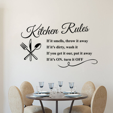 Kitchen Rules Wall Decal Removable Kitchen Quote Wall Sticker Restaurant Home Decor Design Kitchen Rule Wall Art Poster AY1419