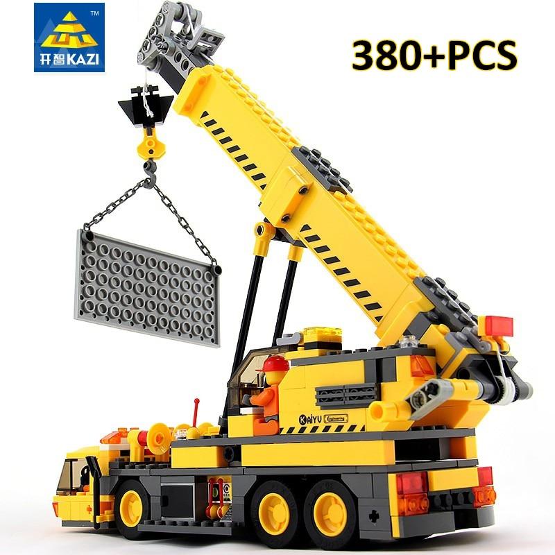 KAZI 380pcs Engineering Playmobile Model Building Blocks Construction Bricks Educational Toys Kids Gift ...
