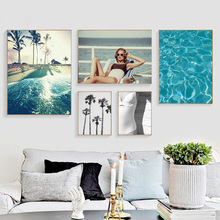 Sea Beach Coconut Tree Girl Landscape Nordic Posters And Prints Wall Art Canvas Painting Wall Pictures For Living Room Decor цена