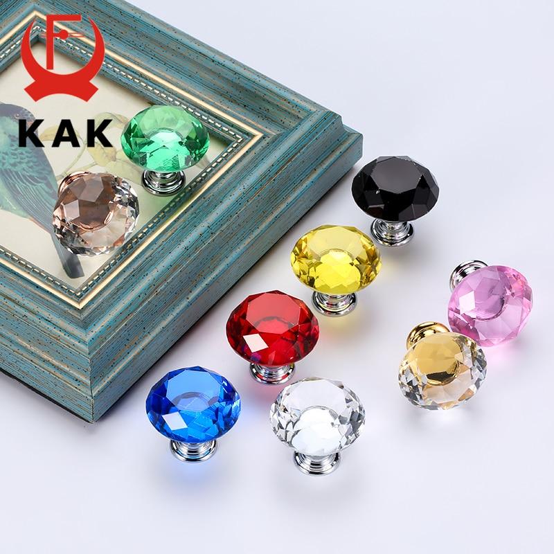 KAK em Forma de Diamante de Cristal de Vidro Puxadores e Alças Dresser Gaveta Armário de Cozinha Puxadores Alças de Hardware Móveis Alça