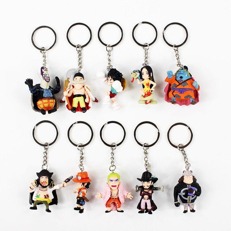 10pcs/lot 4-5cm One Piece Q Version Luffy Ace Zoro Hancock Original Pendant Keychain PVC Action Figure Model Collection Toy
