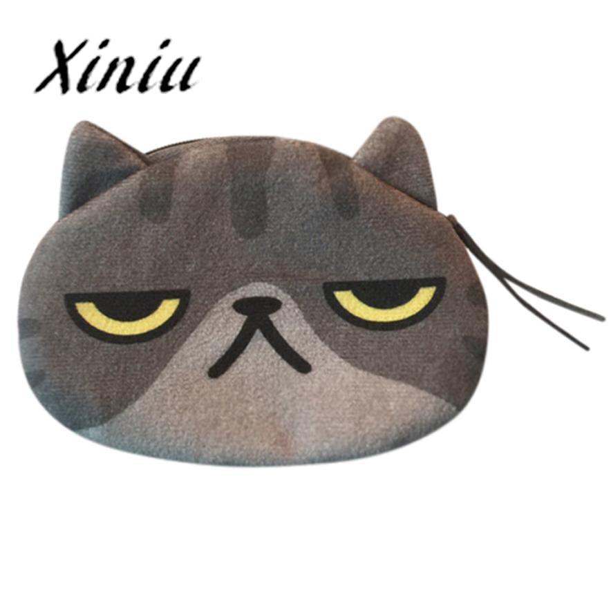 Xiniu Women Cute Cat Face Zipper Case Coin Purse female Girl Printing Coins Change Child Purse print animal wallet Key Bags #SS