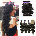 8A Brazilian Body Wave With Silk Base Closure Grace Body Wave Hair 3 Bundle Deals With Closure Mink Brazilian Virgin Hair Weave