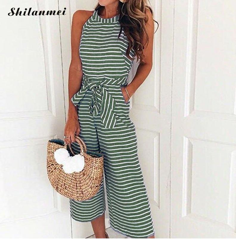 Summer Women Wide Leg Striped Jumpsuits Sleeveless Blue Gray Causal Loose Long Pants Overalls Ladies Beach Jumpsuits Rompers