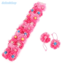 20pcs/lot Korea Style Hair Bands For Kids Ribbons Lace Sunflower Floral Hair Ties Girls Hair Styling Tools Decorations