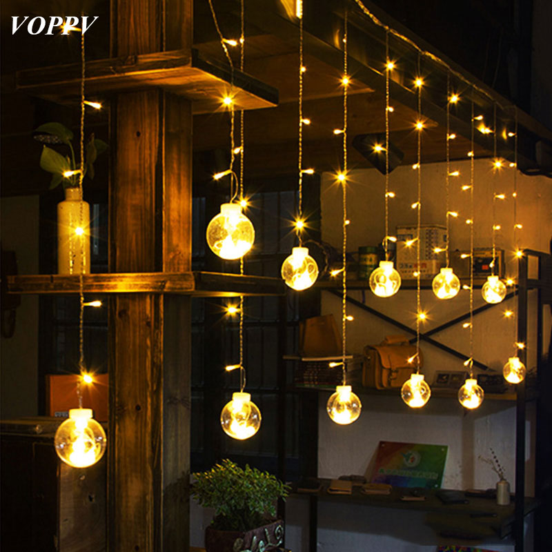 VOPPV LED Curtain Festival Lights 50000h Lamp Life Curtain Decorative LED Lamp String Indoor Home Decorations LED Night Strings elbphilharmonie hamburg nicholas angelich festival strings lucerne