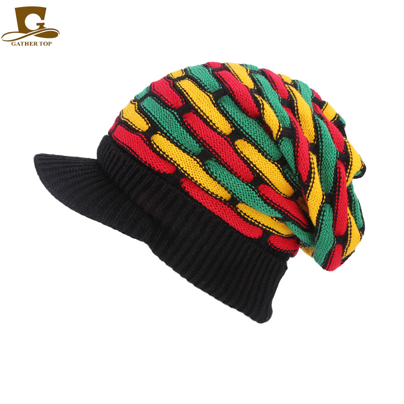 New Visor Rasta Hat Jamaica Rasta Gorro Slouchy Beanie Hat Winter Warm  Knitted Reggae Multi-colored Striped Hip Hop Baggy Cap 3c0d8bb3270