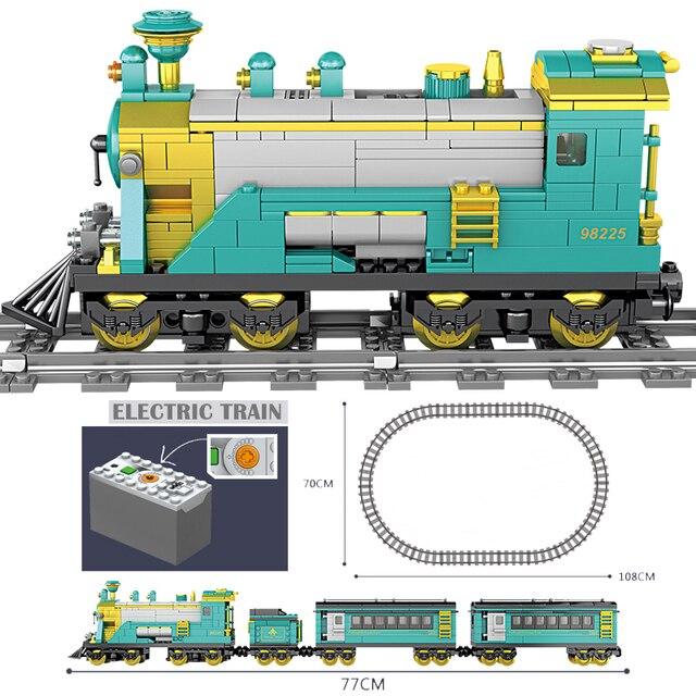 KAZI High-Tech Creator City Train Station Tracks Rail Power Function Motor Building Blocks Bricks DIY battery box Toys For kids 3