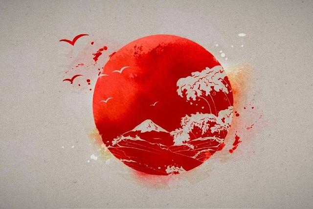 Japanese Sun Seagull Artwork Poster Silk Fabric Printing Wall Art