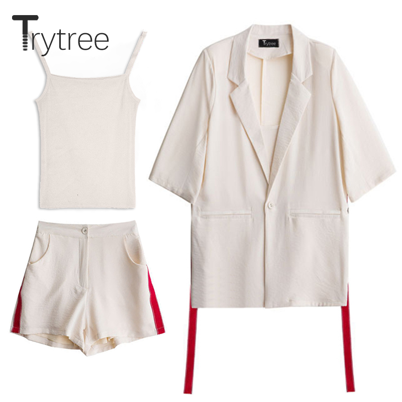 Trytree Spring summer Women Three piece set Casual tops + shorts Female Office Fashion Suit Set Women's Costumes top 3 Piece Set