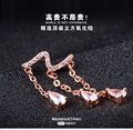 Fashion Luxury White Crystal Zircon Stud Earrings For Women Bridal 925 Sterling Silver Earrings wedding Jewelry Wholesale