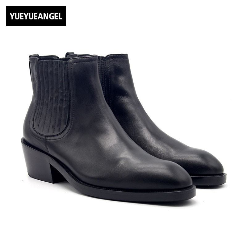 Winter 6cm High Heel Cowboy Work Boots Men Shoes Three Zipper Designer Pointed Toe Genuine Leather Increased Ankle Boots Black недорого