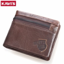 KAVIS Genuine Leather RFID Men Wallet High Quality Luxury Brand Design Short Male Purse with Coin Pocket Hasp Zipper Magic Walet