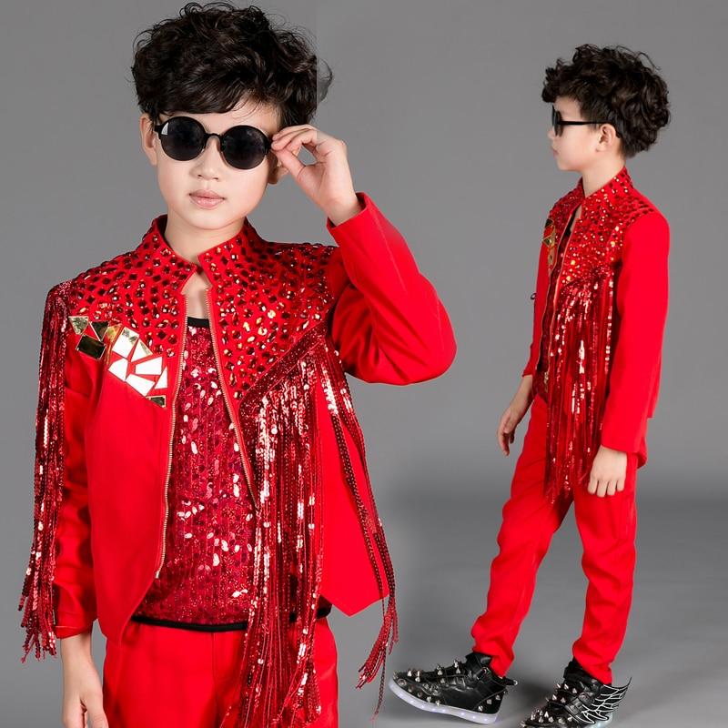 Children Catwalk Singer Host Performance Clothing Tassel Sequins Boy Jazzy Dance Wear Drum Stage Modern Jazz Dance Costumes