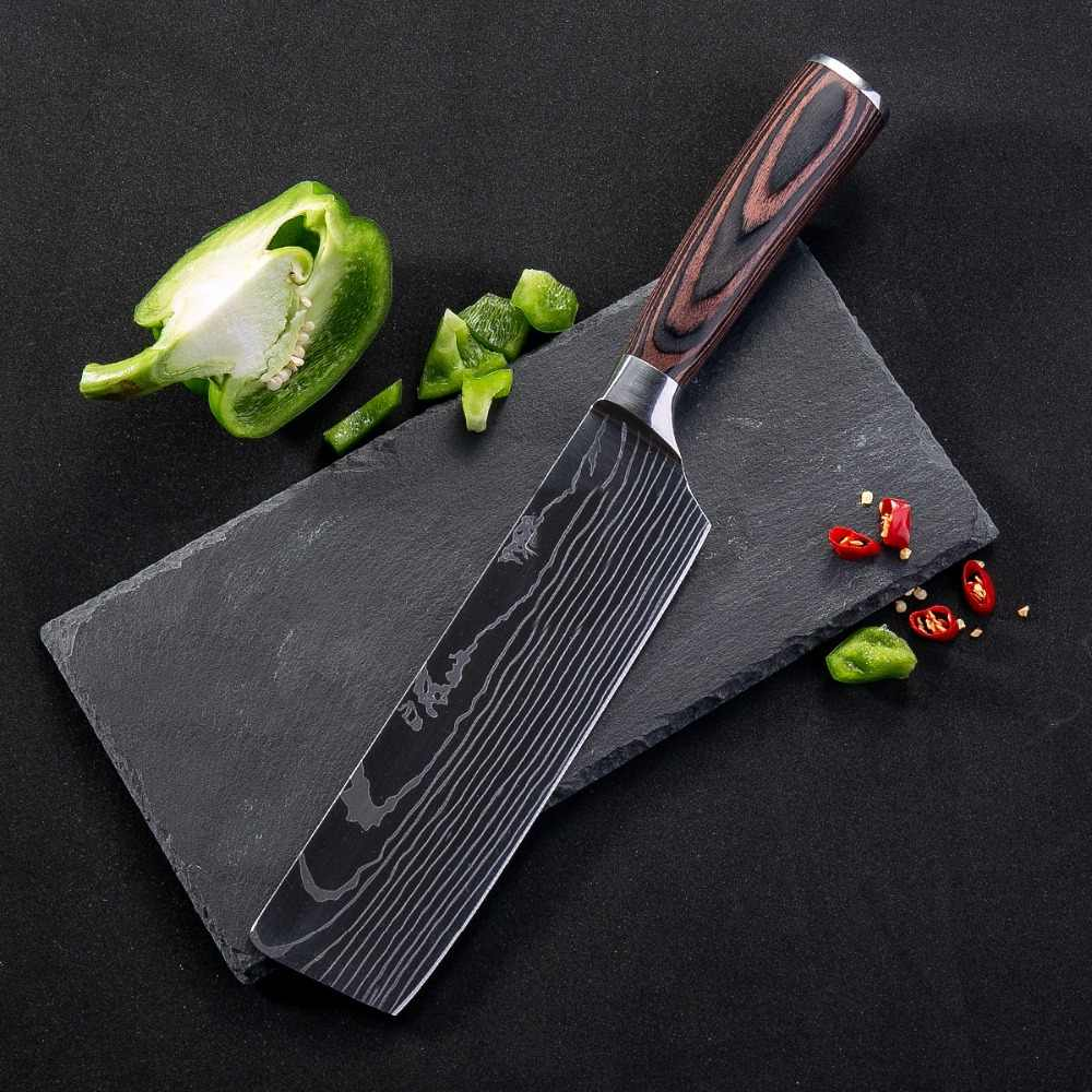 8'' Japanese Stainless Steel Kitchen Knife Chopping Knife Non-stick Nakiri Damascus Veins Pattern Meat Cleaver Cooking Tools