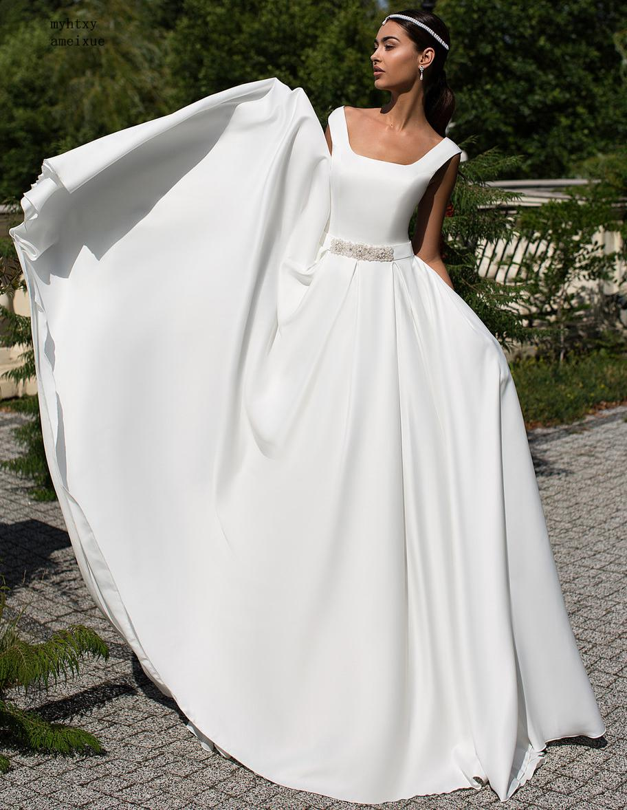 US $79.0 50% OFF|Square Neckline A line Cheap Wedding Dresses 2019 Simple  White Ivory Robe De Mriage Gelinlik Beaded Plus Size Bridal Gown-in Wedding  ...