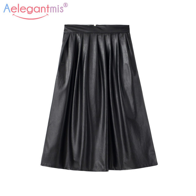 cbb32e7a619835 Aelegantmis Lange Geplooide Leren Rok Vrouwen Zwarte Hoge Taille Rokken  2018 Herfst Vrouwelijke Vintage Sexy Geplooide