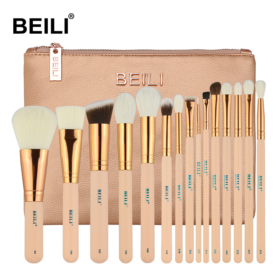 BEILI 15Pcs Pink Rose Golden Natural goat Horse Hair Foundation blusher eye Blending Contour Powder liner Makeup brush set