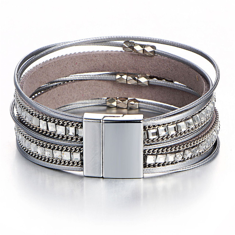 Handmade Vintage Multilayer Crystal Charm Bracelets Leather Wristband JeweryBangle Bracelet For Woman Men