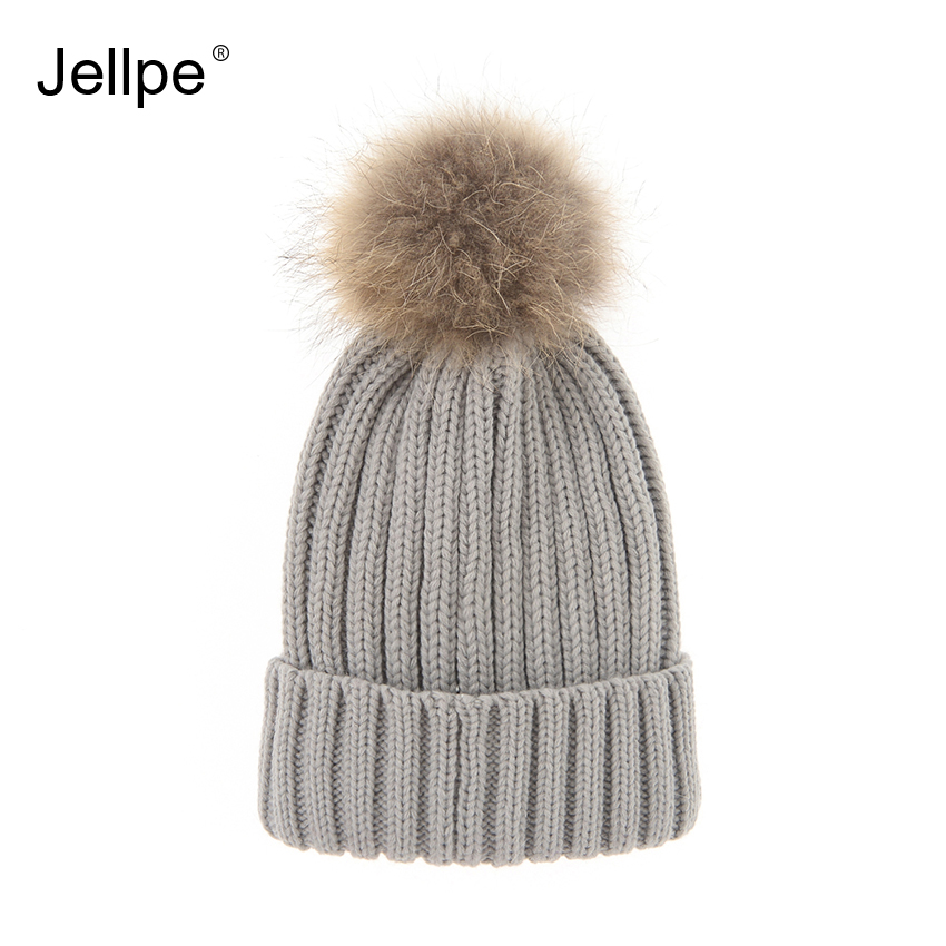 Removable Real Raccoon Fur Pompom Bobble hats Acrylic Wool Women's Knitted Cap Skullies beanies Warm autumn winter hat female autumn winter beanie fur hat knitted wool cap with raccoon fur pompom skullies caps ladies knit winter hats for women beanies