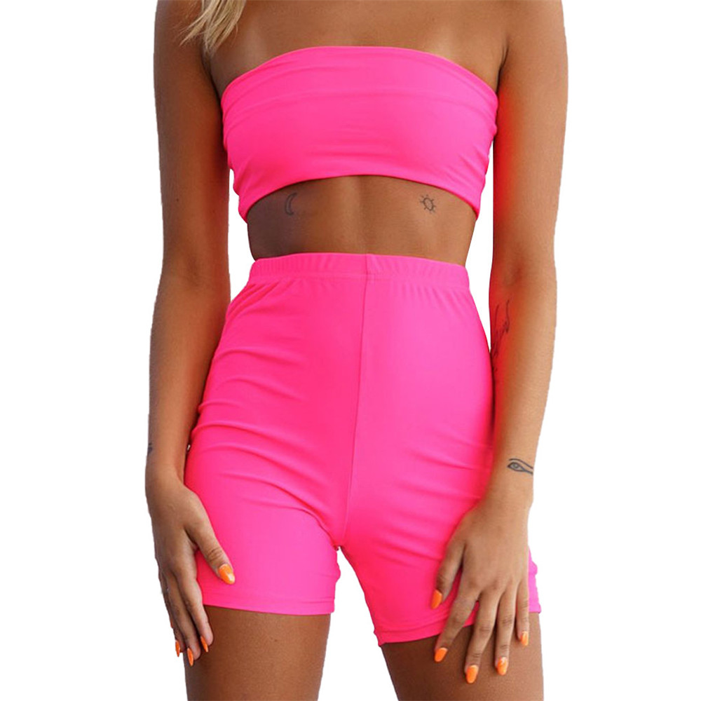 JAYCOSIN Women Clothes Set Sexy Summer Slim Two Piece Set Wrap Chest Top And Short Pants Fitness  Running Sports Outfits