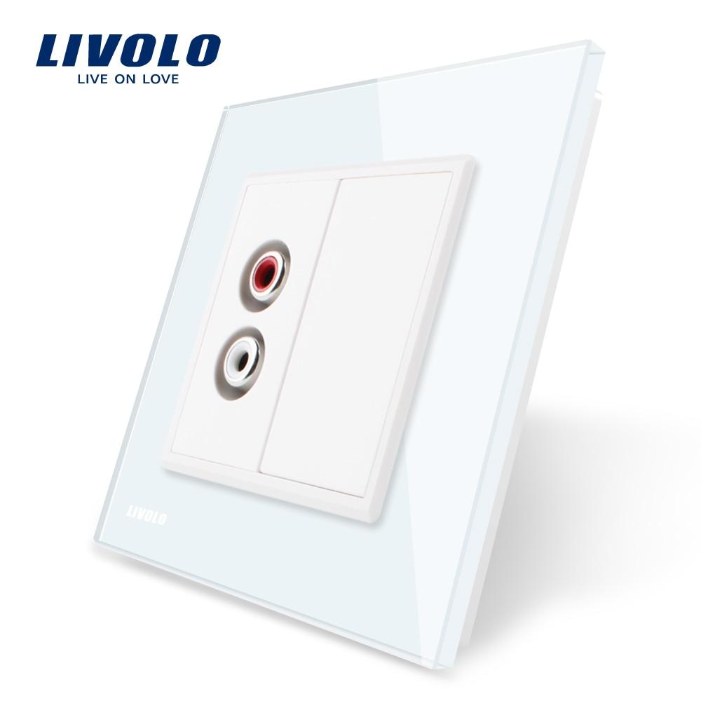 Livolo EU standard Wall Outlet VL-C791AD-11/12/13/15, 4colors Crystal Glass Panel, Two gang Audio socket 220V~250V