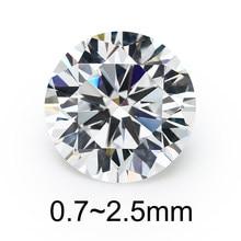 500 pces 0.7 2.5mm aaaaa redondo brilhante branco zircônia cúbica pedra solta zircão cúbico