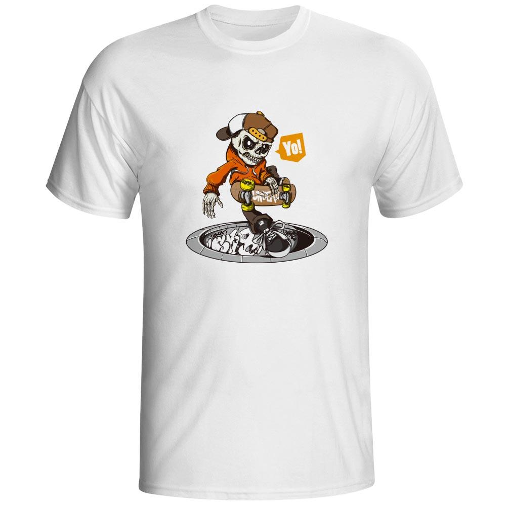 Undead Skate Boy T Shirt Skull Cool Funny Fashion T-shirt Novelty Rock Print Unisex Tee