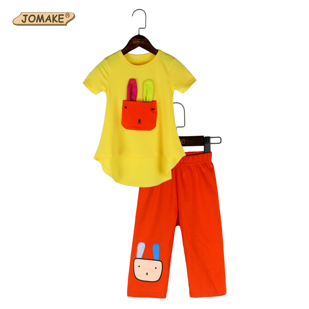 JOMAKE Girls Clothes Sets 2018 New Summer Cartoon Rabbit Short Sleeve T-shirt+Leggings Casual Kids Suit Toddler Girl Clothing new cotton toddler girls clothing sets kids clothes summer cartoon baby girl t shirt overalls suit costume with suspender shorts