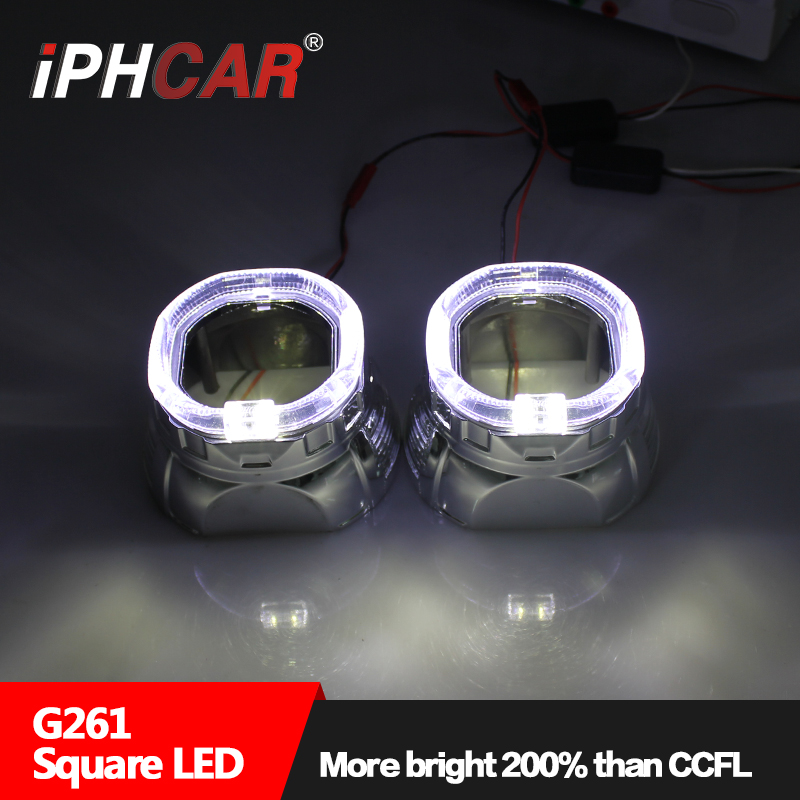Free Shipping IPHCAR Car Styling Auto Part Bi-xenon Universal Hid Projector Lens Light Square LED  Angel Eyes Headlight Retrofit  free shipping iphcar lhd rhd auto driving front lens universal led ring angel eyes light mini projector headlight for h1 h4 h7