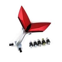 EDFY Pair Retroviseurs Miroir Pour Moto Scooter Bande Roulement Vis 8mm 10mm Couleur Rouge