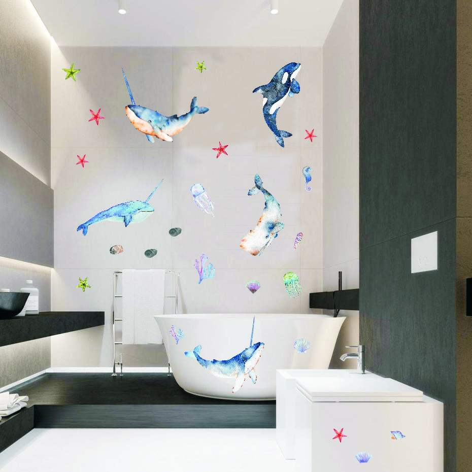 Beautiful Whale with Angle Undersea Wall stickers Room Decor Art Vinyls Decals for Children Kids Bedroom Living Room Home Mural in Wall Stickers from Home Garden